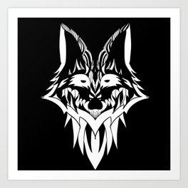Fox in Black and White Art Print
