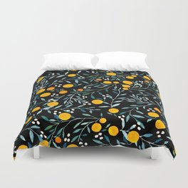 Oranges Black Duvet Cover