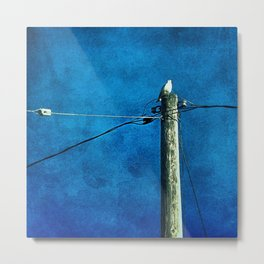 'BIRD ON A WIRE' Metal Print
