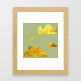 Gold Clouds green Framed Art Print