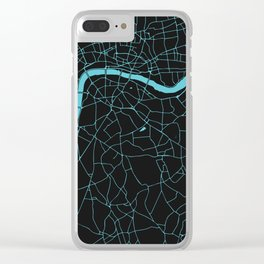 Black on Turquoise London Street Map Clear iPhone Case