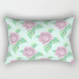 Cross Stitch Rose Pattern in blue Rectangular Pillow