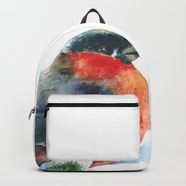 Christmas watercolor bullfinch Backpack