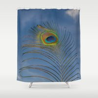 peacock feather Shower Curtains featuring Peacock feather by PICSL8