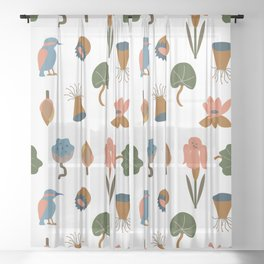 Vector illustration with flowers, leaves and kingfisher Sheer Curtain