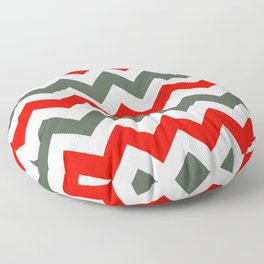 Chevron Pattern In Poppy Red Grey and White Floor Pillow