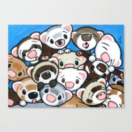 16 Ferrets Canvas Print