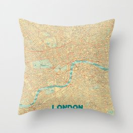 London Map Retro Throw Pillow
