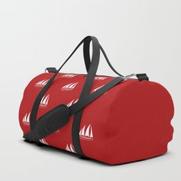 White Sailboat Pattern on red background Duffle Bag