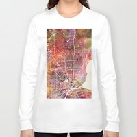 detroit Long Sleeve T-shirts featuring Detroit by MapMapMaps.Watercolors