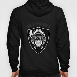Aviation Clothing, sky riders skull illustration. Hoody