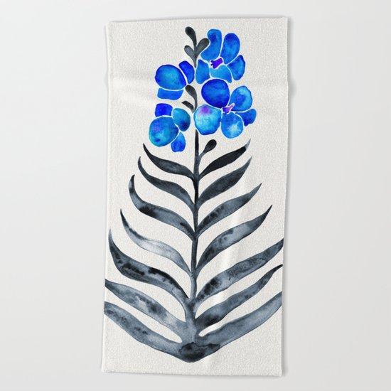 Blooming Orchid – Blue & Black Palette Beach Towel