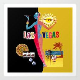 Loving Las Vegas | vintage black & gold Art Print
