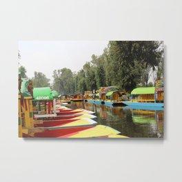 Trajineras Along the River Metal Print