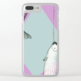 Narwhal Geometric Bright and Colorful Clear iPhone Case