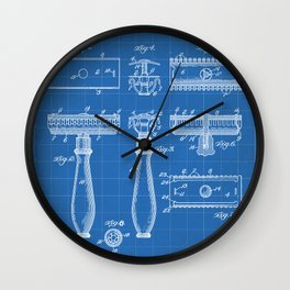 Razor Patent - Barber Art - Blueprint Wall Clock