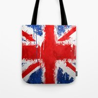 british Tote Bags featuring BRITISH FLAG by Sophie
