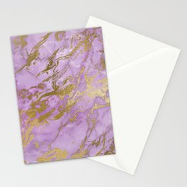 Lavender Gold Marble Stationery Cards