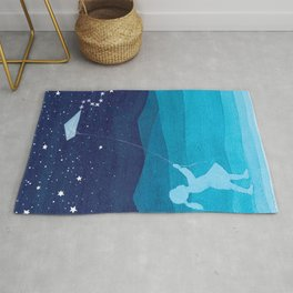 Girl with a kite, blue kids watercolor Rug