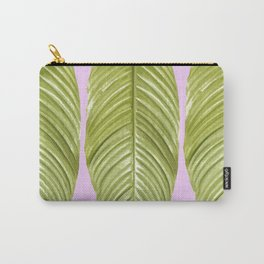 Three large green leaves on a pink background - vivid colors Carry-All Pouch