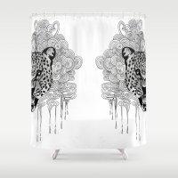 leopard Shower Curtains featuring Leopard by Zora Chen