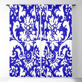 Paisley Damask Blue and White Blackout Curtain