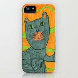 Lucy Cat on Yellow iPhone Case