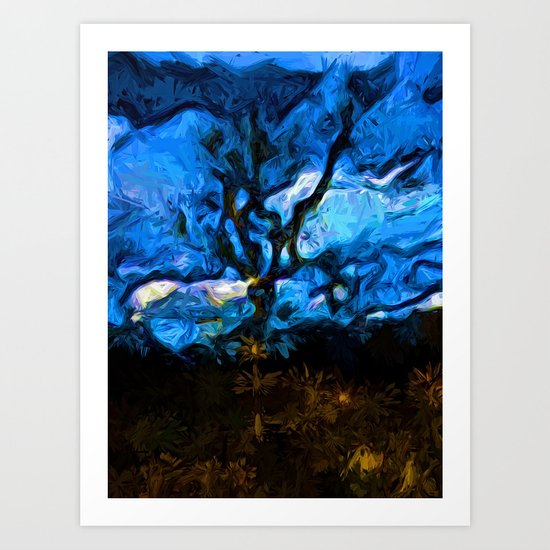 Tree Fights the Wind and Blue Sky Art Print