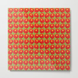 red flowers - pattern Metal Print