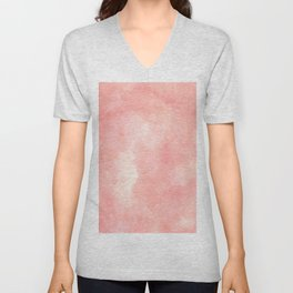 Coral pink watercolor abstract brushstrokes pattern Unisex V-Neck