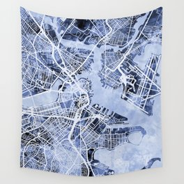 Boston Massachusetts Street Map Wall Tapestry