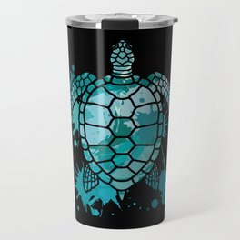 Colored Sea Turtle | Artistic Paint Splotches Travel Mug
