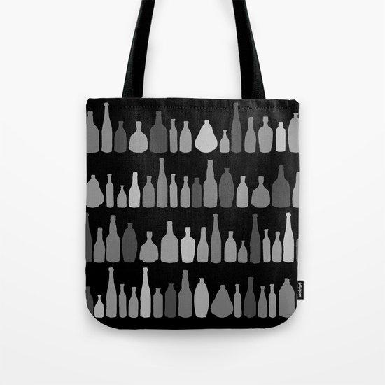 Bottles Black and White on Black Tote Bag