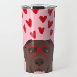 Chocolate Lab love heart glasses cute pet gifts valentines day labrador retriever Travel Mug