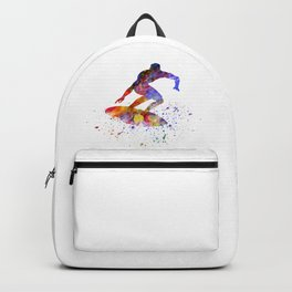 Young surfer in watercolor Backpack