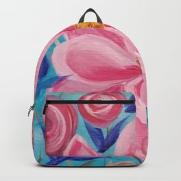 Pink and Wild, Pink Lily, Pink Flower, Pink and Blue Floral Art Backpack