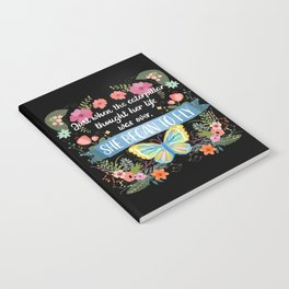 She Began To Fly Hand Lettered Floral Sign Notebook