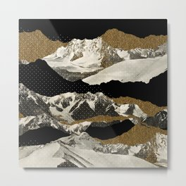 Golden Zugspitze Square / Black Metal Print