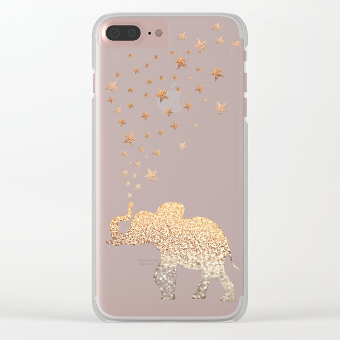 ELEPHANT - GOLD MINT Clear iPhone Case