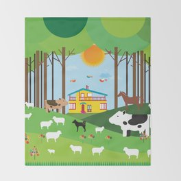 Farm in the forest  Throw Blanket