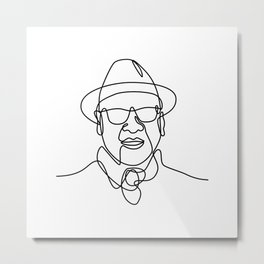 Asian Man or Gentleman Wearing a Fedora Hat and Sunglasses Smiling Continuous Line Drawing  Metal Print