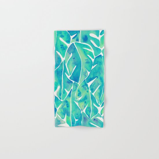 Split Leaf Philodendron – Turquoise Hand & Bath Towel