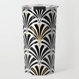 Art Deco Fan Pattern, Black and White Travel Mug