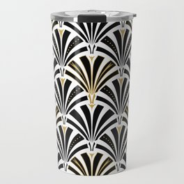 Art Deco Fan Pattern, Black and White Travel Mug