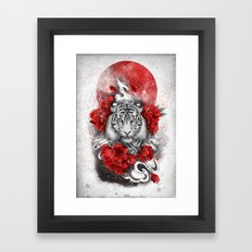 White tiger, red sun Framed Art Print