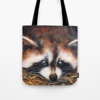 raccoon Tote Bags featuring Raccoon by Patrizia Ambrosini