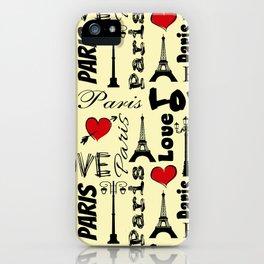 Paris text design illustration iPhone Case
