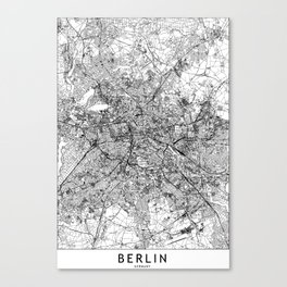 Berlin White Map Canvas Print
