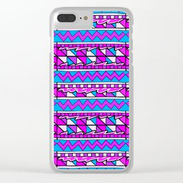 Latin American Pattern Pink Purple Blue. Funky Art. Colourful Pattern Clear iPhone Case