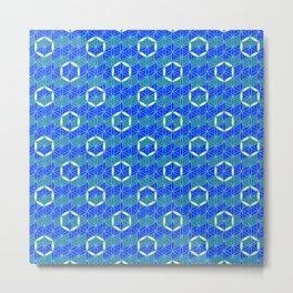 Flower of Life Ring Blue Metal Print